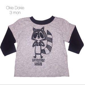 Okie Dokie Raccoon Adventure Seeker T Shirt 3 mon